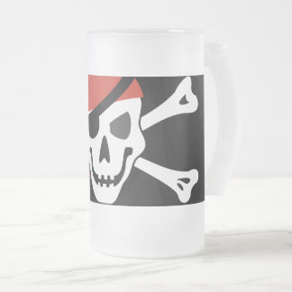 Caneca De Cerveja Vidro Jateado Crânio de sorriso simples do pirata com Bandanna