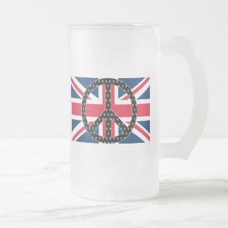 Caneca De Cerveja Vidro Jateado Crânios britânicos da paz