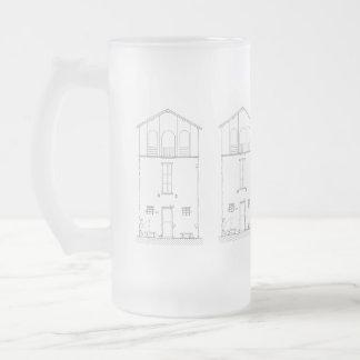 Caneca De Cerveja Vidro Jateado Desenho preto e branco moderno da casa rústica