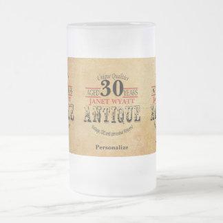 Caneca De Cerveja Vidro Jateado Envelhecido 30 anos de aniversário de 30 anos de |