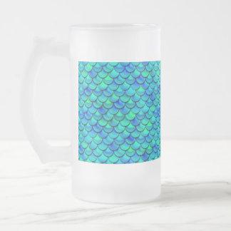 Caneca De Cerveja Vidro Jateado Escalas do azul do Aqua de Falln