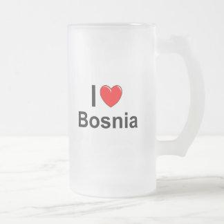 Caneca De Cerveja Vidro Jateado Eu amo o coração Bósnia