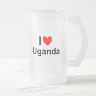 Caneca De Cerveja Vidro Jateado Eu amo o coração Uganda