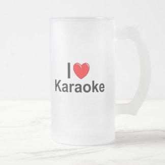 Caneca De Cerveja Vidro Jateado Eu amo o karaoke do coração