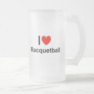 Caneca De Cerveja Vidro Jateado Eu amo o Racquetball do coração
