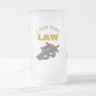 Caneca De Cerveja Vidro Jateado Eu sou a lei com uma metralhadora m4a1