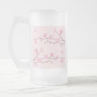 Caneca De Cerveja Vidro Jateado Flor de cerejeira - rosa
