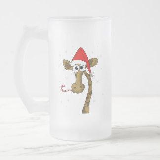 Caneca De Cerveja Vidro Jateado Girafa do Natal