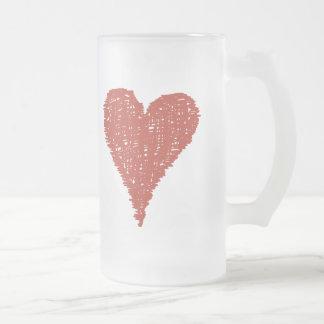 Caneca De Cerveja Vidro Jateado Grande coração vermelho