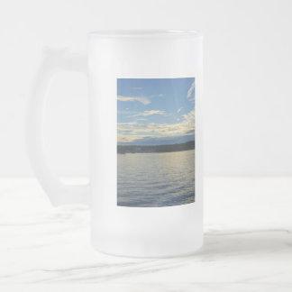 Caneca De Cerveja Vidro Jateado Lago azul sunset de Ozarks