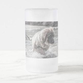 Caneca De Cerveja Vidro Jateado Leonberger congelado
