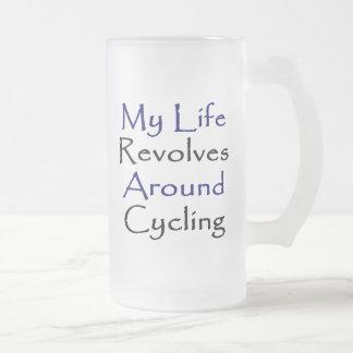 Caneca De Cerveja Vidro Jateado Minha vida revolve em torno do ciclismo