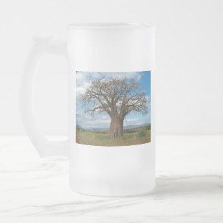 Caneca De Cerveja Vidro Jateado O ramo de árvore do Baobab personaliza destinos do