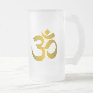 """Caneca De Cerveja Vidro Jateado """"OM Hindu """""""