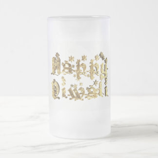 Caneca De Cerveja Vidro Jateado Ouro decorativo feliz da tipografia das estrelas