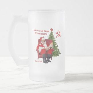 Caneca De Cerveja Vidro Jateado Papai noel de Karl Marx