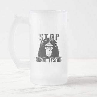 Caneca De Cerveja Vidro Jateado Pare o teste animal - chimpanzé