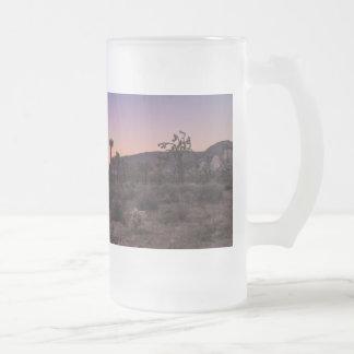 Caneca De Cerveja Vidro Jateado Parque nacional de árvore de Joshua do por do sol