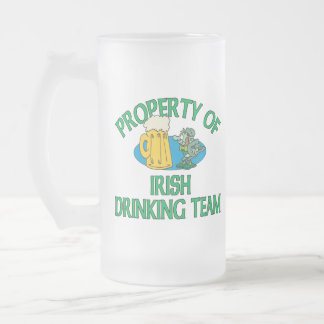 Caneca De Cerveja Vidro Jateado Propriedade do Leprechaun irlandês da equipe do