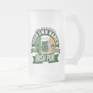 Caneca De Cerveja Vidro Jateado Seu próprio bar irlandês conhecido dia