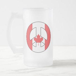 Caneca De Cerveja Vidro Jateado Sinal de paz canadense