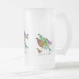 Caneca De Cerveja Vidro Jateado Taça multicolor com motivo abstracto de pássaro