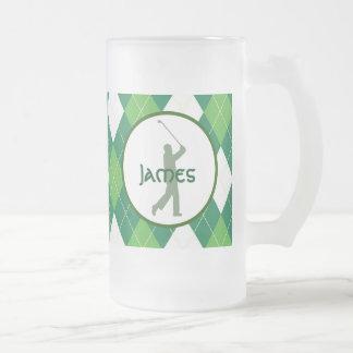 Caneca De Cerveja Vidro Jateado Teste padrão e golfe verdes de Argyle