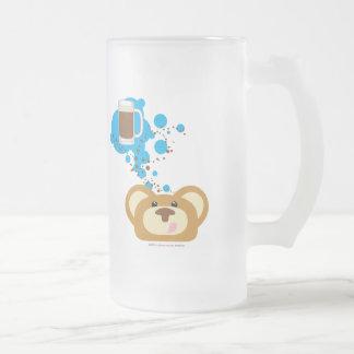 Caneca De Cerveja Vidro Jateado urso do orbie que pensa do flutuador do rootbeer