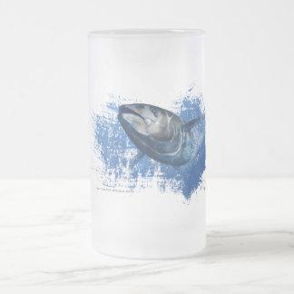 Caneca De Cerveja Vidro Jateado Vidro de cerveja azul do fosco do atum da aleta
