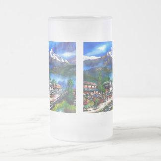 Caneca De Cerveja Vidro Jateado Vista panorâmica da montanha Nepal de Everest