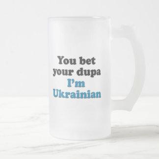 Caneca De Cerveja Vidro Jateado Você aposta seu dupa que eu sou ucraniano