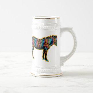 Caneca De Cerveja Zebra colorida do arco-íris