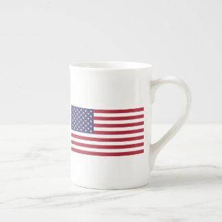 Caneca de China de osso com a bandeira dos EUA