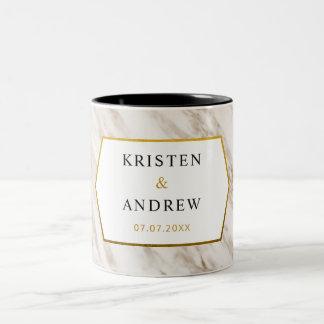 Caneca | de mármore moderna do casamento do ouro