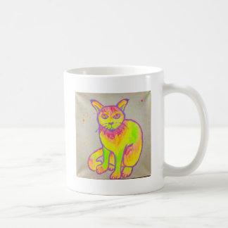 Caneca de néon pintado mão do gato