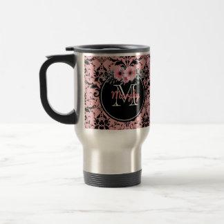 Caneca de viagem cor-de-rosa | preta Monogrammed