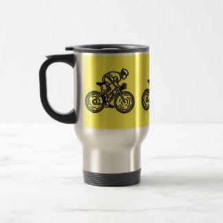 caneca de viagem de aço inoxidável Preto-amarela