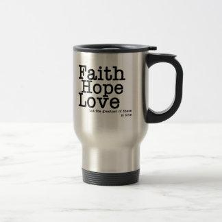Caneca de viagem do amor da esperança da fé