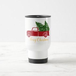 Caneca de viagem do caminhão da árvore de Natal