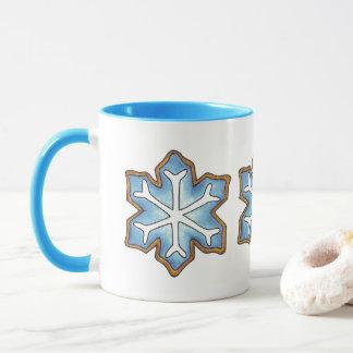 Caneca Deixais lhe para nevar feriado de inverno azul de