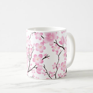 caneca delicada da flor de cerejeira branca