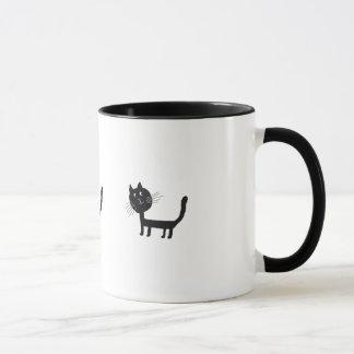 Caneca Desenho bonito do gato preto