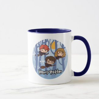 Caneca Desenhos animados Harry, Ron, & vôo de Hermione