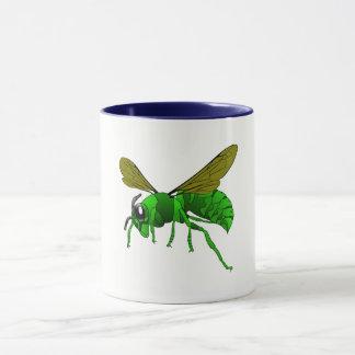Caneca Desenhos animados verdes e abelha da vespa do