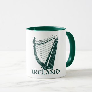 Caneca Design da harpa de Ireland, harpa irlandesa