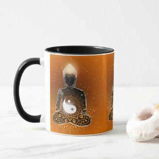 Caneca Design de Ying Yang da meditação de Buddha