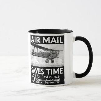 Caneca Design do poster do correio aéreo do vintage com