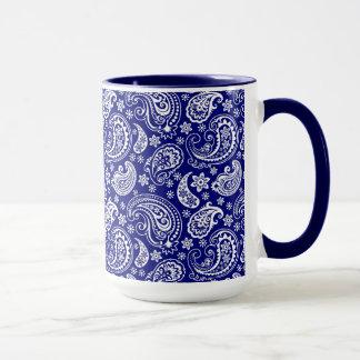 Caneca Design floral de Paisley do vintage azul & branco