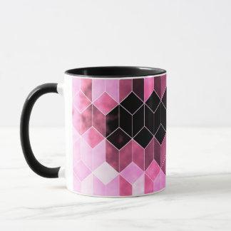 Caneca Design geométrico cor-de-rosa & preto intenso