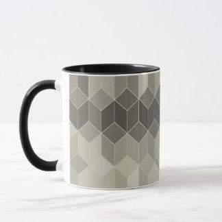 Caneca Design geométrico do cubo da escala cinzenta